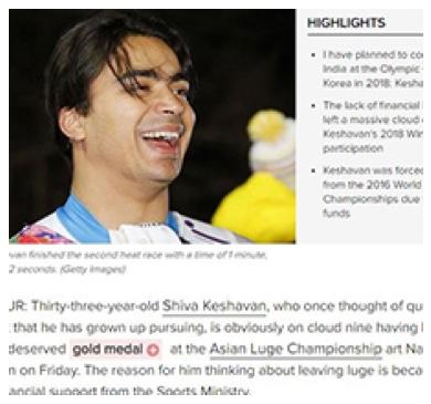 Keshavan on cloud nine after winning Asian luge gold